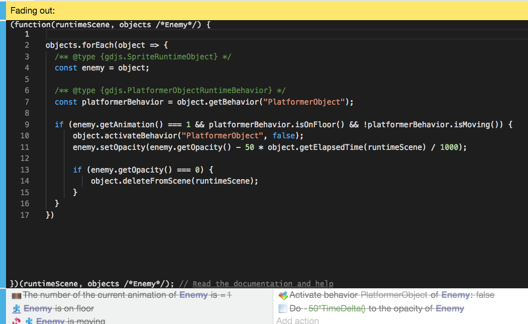 JavaScript Code events [GDevelop wiki]